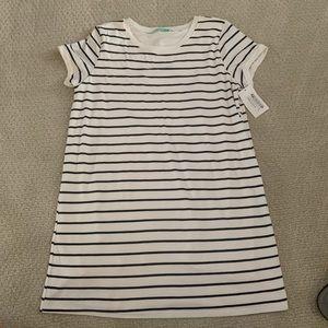 Pink Lily Striped T- Shirt Dress